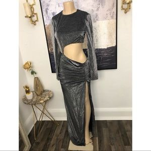 House of CB silver large evening dress